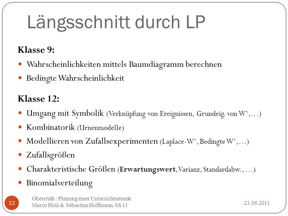 Längsschnitt durch LP 21.06.2011 Oberstufe : Planung einer Unterrichtsstunde Marco Holz & Sebastian Hoffmann, SS 11 12 Klasse 9: Wahrscheinlichkeiten