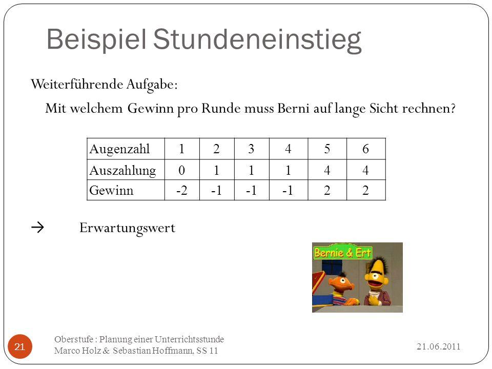 Beispiel Stundeneinstieg 21.06.2011 Oberstufe : Planung einer Unterrichtsstunde Marco Holz & Sebastian Hoffmann, SS 11 21 Weiterführende Aufgabe: Mit