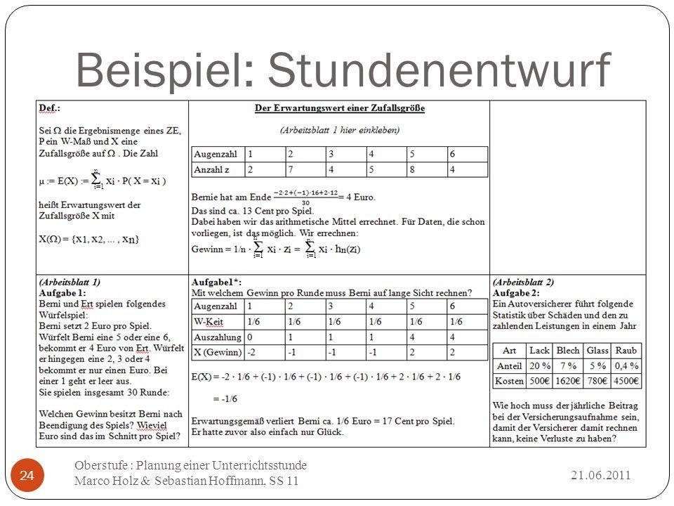 Beispiel: Stundenentwurf 21.06.2011 Oberstufe : Planung einer Unterrichtsstunde Marco Holz & Sebastian Hoffmann, SS 11 24 n i=1 n n