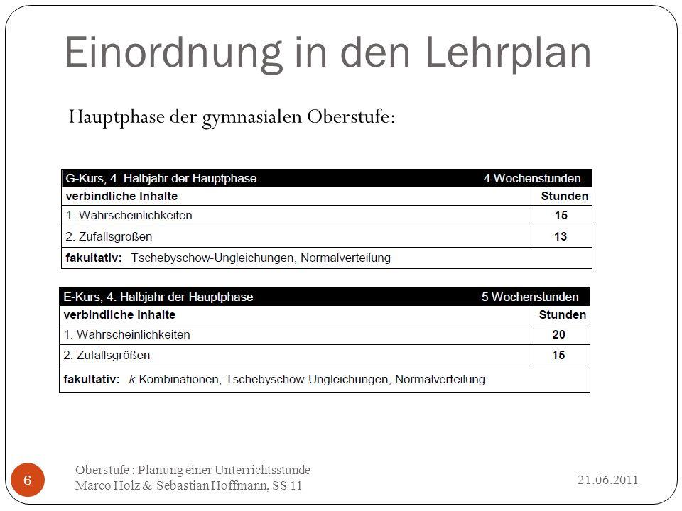 Zufallsvariable 21.06.2011 Oberstufe : Planung einer Unterrichtsstunde Marco Holz & Sebastian Hoffmann, SS 11 17 Bei einem Zufallsexperiment interessiert oft weniger das konkrete Ergebnis ω, sondern vielmehr eine davon abgeleitete Größe X( ω ).