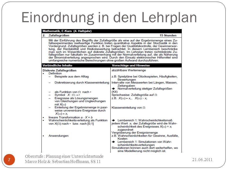 Einordnung in den Lehrplan 21.06.2011 Oberstufe : Planung einer Unterrichtsstunde Marco Holz & Sebastian Hoffmann, SS 11 7