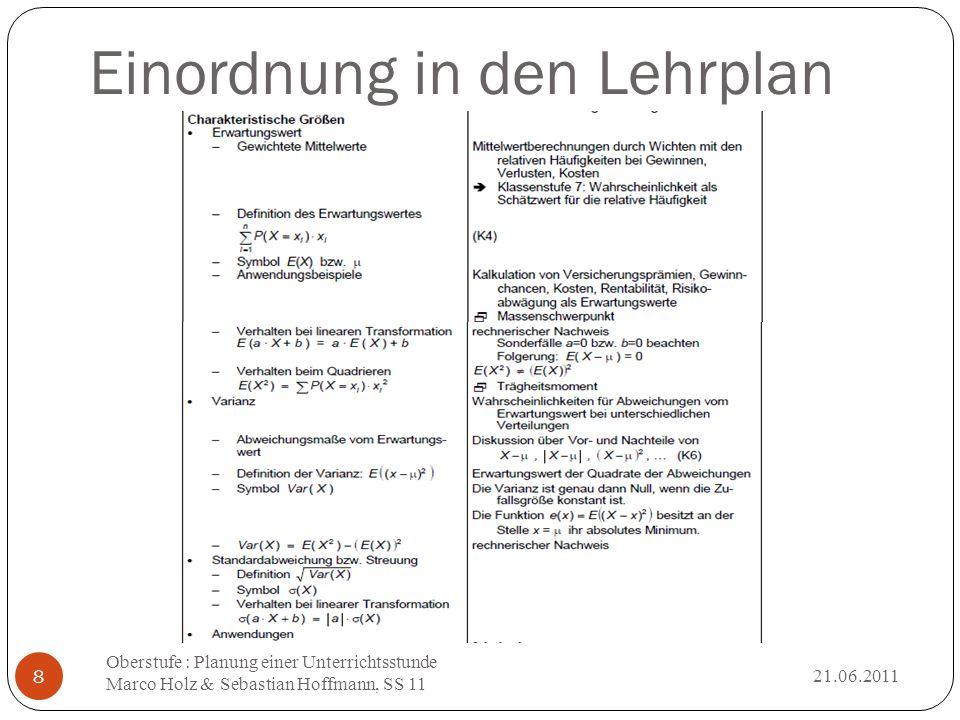 Einordnung in den Lehrplan 21.06.2011 Oberstufe : Planung einer Unterrichtsstunde Marco Holz & Sebastian Hoffmann, SS 11 8