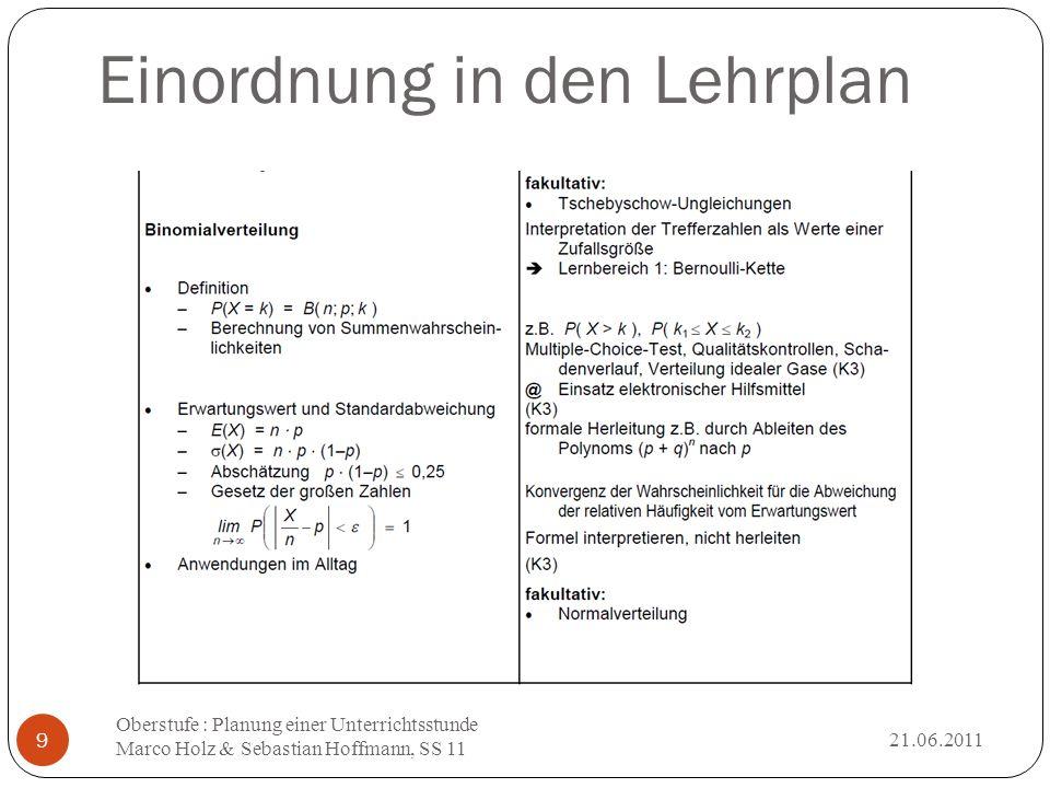 Einordnung in den Lehrplan 21.06.2011 Oberstufe : Planung einer Unterrichtsstunde Marco Holz & Sebastian Hoffmann, SS 11 9