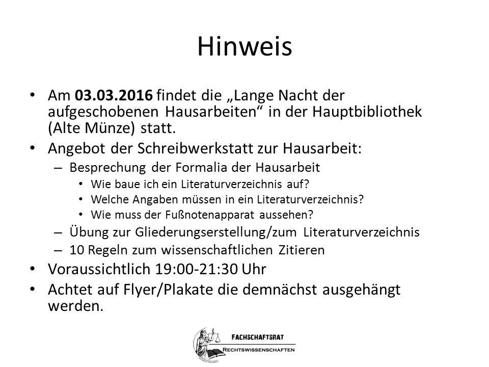 """Hinweis Am 03.03.2016 findet die """"Lange Nacht der aufgeschobenen Hausarbeiten"""" in der Hauptbibliothek (Alte Münze) statt. Angebot der Schreibwerkstatt"""
