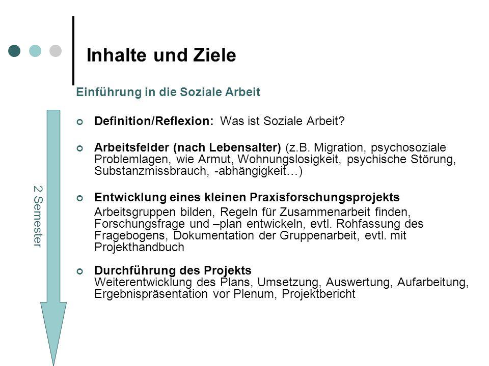Inhalte und Ziele Einführung in die Soziale Arbeit Definition/Reflexion: Was ist Soziale Arbeit.
