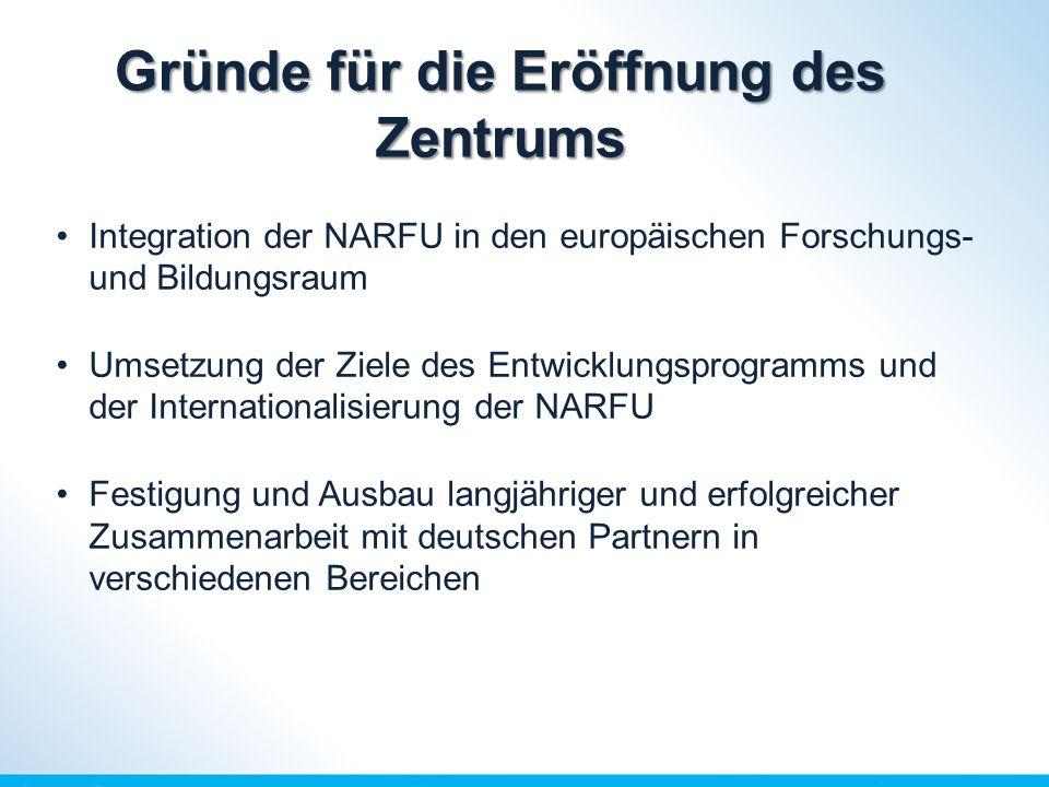 Gründe für die Eröffnung des Zentrums Integration der NARFU in den europäischen Forschungs- und Bildungsraum Umsetzung der Ziele des Entwicklungsprogramms und der Internationalisierung der NARFU Festigung und Ausbau langjähriger und erfolgreicher Zusammenarbeit mit deutschen Partnern in verschiedenen Bereichen