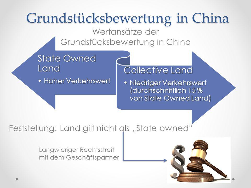 Grundstücksbewertung in China State Owned Land Hoher VerkehrswertHoher Verkehrswert Collective Land Niedriger Verkehrswert (durchschnittlich 15 % von