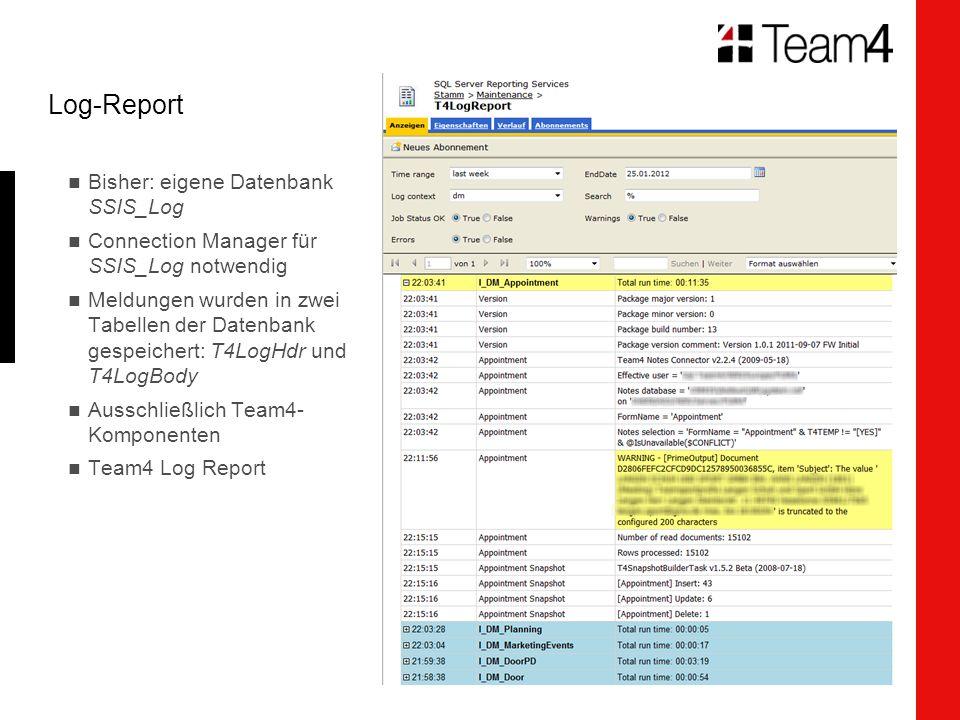 Log-Report Bisher: eigene Datenbank SSIS_Log Connection Manager für SSIS_Log notwendig Meldungen wurden in zwei Tabellen der Datenbank gespeichert: T4LogHdr und T4LogBody Ausschließlich Team4- Komponenten Team4 Log Report