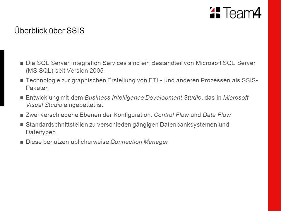 Überblick über SSIS Die SQL Server Integration Services sind ein Bestandteil von Microsoft SQL Server (MS SQL) seit Version 2005 Technologie zur graphischen Erstellung von ETL- und anderen Prozessen als SSIS- Paketen Entwicklung mit dem Business Intelligence Development Studio, das in Microsoft Visual Studio eingebettet ist.