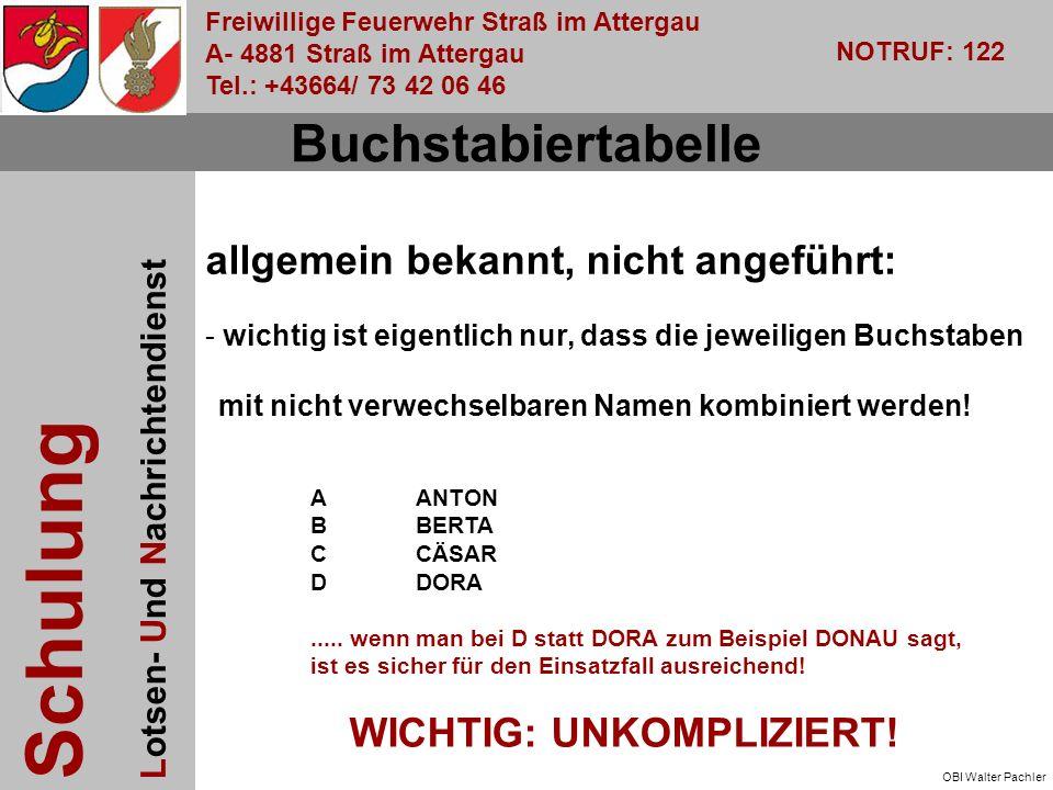 Freiwillige Feuerwehr Straß im Attergau A- 4881 Straß im Attergau Tel.: +43664/ 73 42 06 46 NOTRUF: 122 Schulung Lotsen- Und Nachrichtendienst OBI Walter Pachler Buchstabiertabelle allgemein bekannt, nicht angeführt: - wichtig ist eigentlich nur, dass die jeweiligen Buchstaben mit nicht verwechselbaren Namen kombiniert werden.