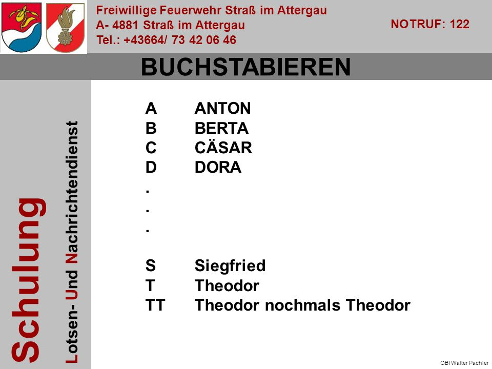 Freiwillige Feuerwehr Straß im Attergau A- 4881 Straß im Attergau Tel.: +43664/ 73 42 06 46 NOTRUF: 122 Schulung Lotsen- Und Nachrichtendienst OBI Walter Pachler BUCHSTABIEREN AANTON BBERTA C CÄSAR DDORA.
