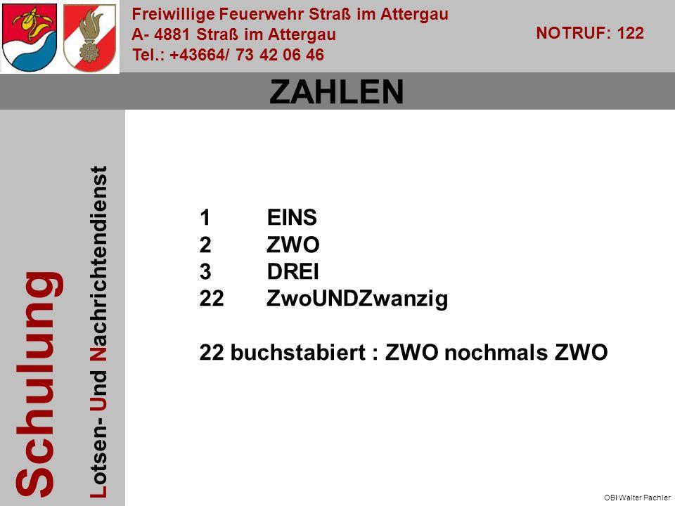 Freiwillige Feuerwehr Straß im Attergau A- 4881 Straß im Attergau Tel.: +43664/ 73 42 06 46 NOTRUF: 122 Schulung Lotsen- Und Nachrichtendienst OBI Walter Pachler ZAHLEN 1EINS 2ZWO 3DREI 22ZwoUNDZwanzig 22 buchstabiert : ZWO nochmals ZWO