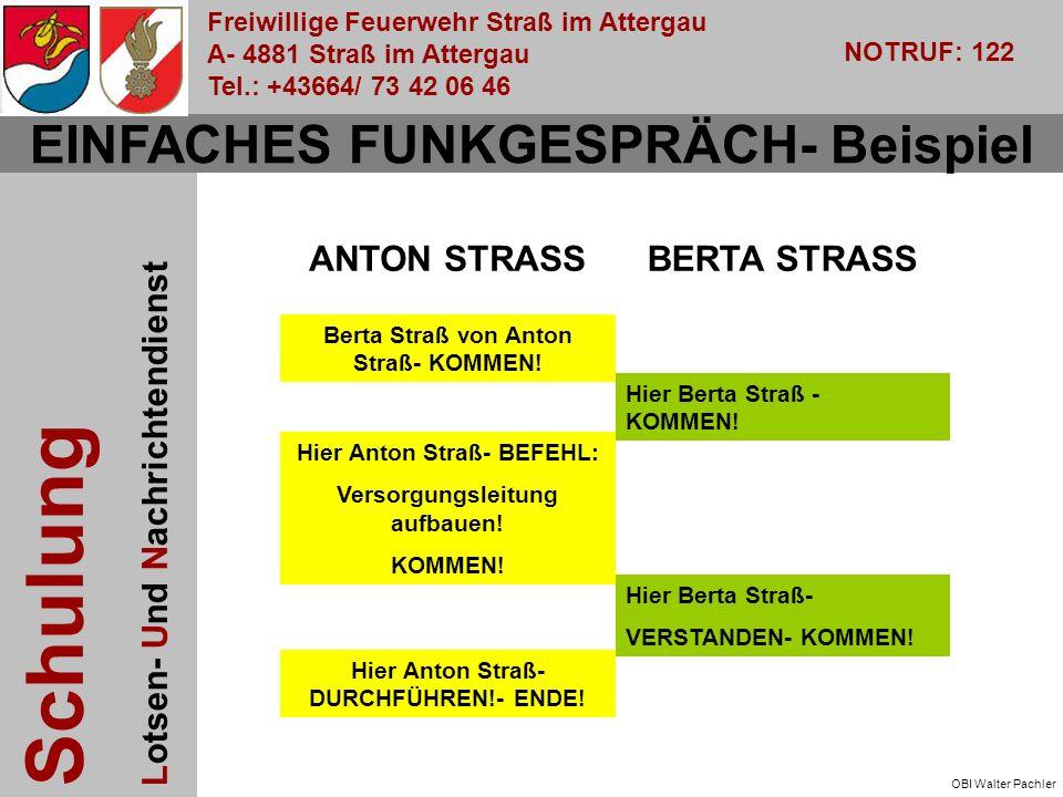 Freiwillige Feuerwehr Straß im Attergau A- 4881 Straß im Attergau Tel.: +43664/ 73 42 06 46 NOTRUF: 122 Schulung Lotsen- Und Nachrichtendienst OBI Walter Pachler EINFACHES FUNKGESPRÄCH- Beispiel Berta Straß von Anton Straß- KOMMEN.