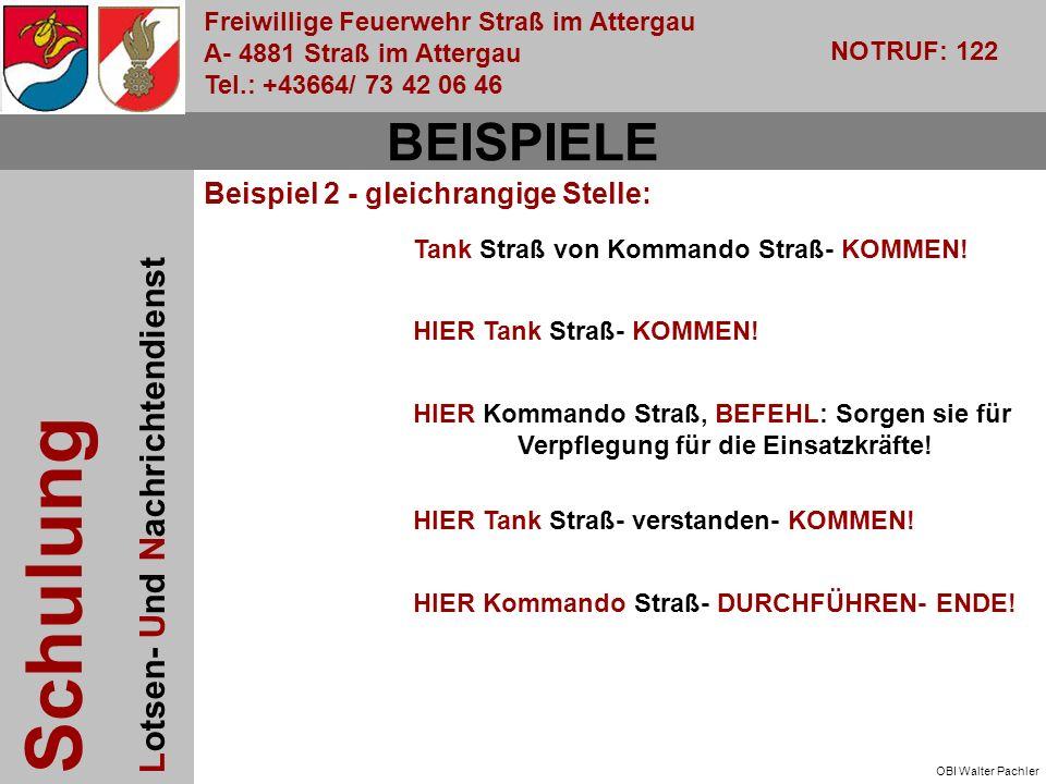 Freiwillige Feuerwehr Straß im Attergau A- 4881 Straß im Attergau Tel.: +43664/ 73 42 06 46 NOTRUF: 122 Schulung Lotsen- Und Nachrichtendienst OBI Walter Pachler Tank Straß von Kommando Straß- KOMMEN.