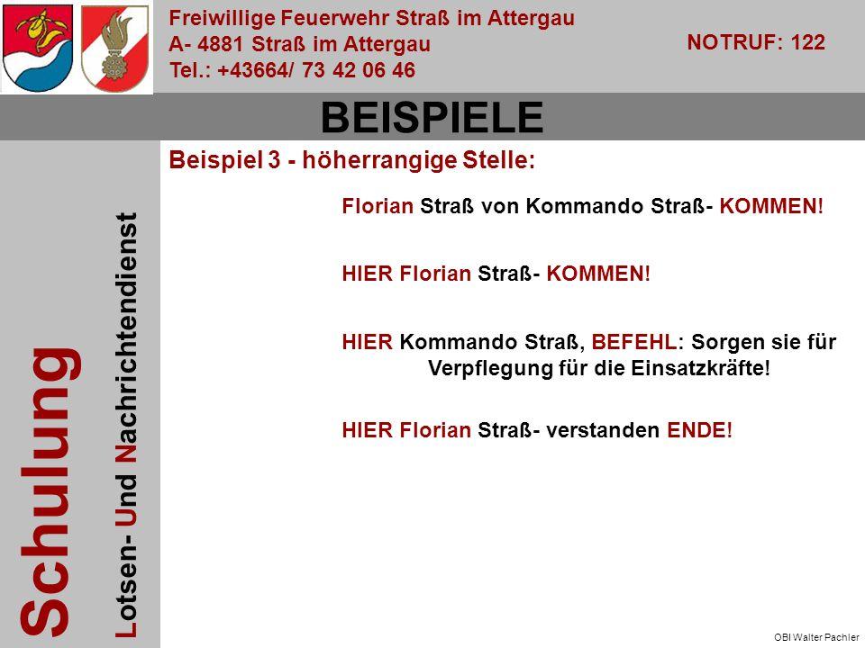 Freiwillige Feuerwehr Straß im Attergau A- 4881 Straß im Attergau Tel.: +43664/ 73 42 06 46 NOTRUF: 122 Schulung Lotsen- Und Nachrichtendienst OBI Walter Pachler Florian Straß von Kommando Straß- KOMMEN.