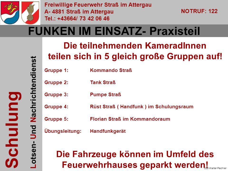 Freiwillige Feuerwehr Straß im Attergau A- 4881 Straß im Attergau Tel.: +43664/ 73 42 06 46 NOTRUF: 122 Schulung Lotsen- Und Nachrichtendienst OBI Walter Pachler Die teilnehmenden KameradInnen teilen sich in 5 gleich große Gruppen auf.