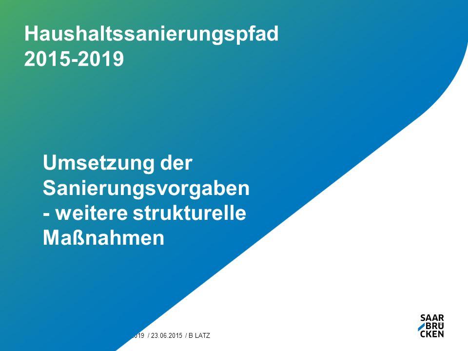 Haushaltssanierungspfad 2015-2019 / 23.06.2015 / B LATZ16 Haushaltssanierungspfad 2015-2019 Umsetzung der Sanierungsvorgaben - weitere strukturelle Maßnahmen