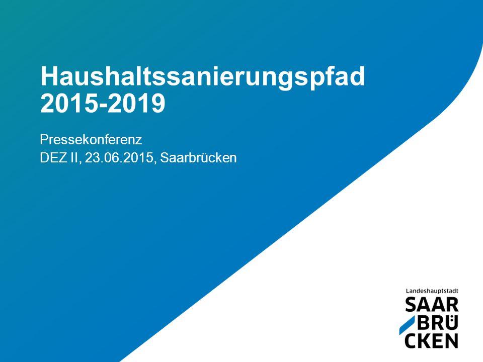 Haushaltssanierungspfad 2015-2019 Pressekonferenz DEZ II, 23.06.2015, Saarbrücken