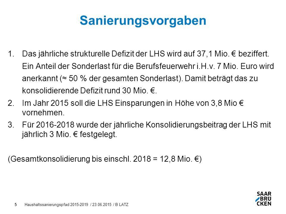 Haushaltssanierungspfad 2015-2019 / 23.06.2015 / B LATZ5 Sanierungsvorgaben 1.Das jährliche strukturelle Defizit der LHS wird auf 37,1 Mio.