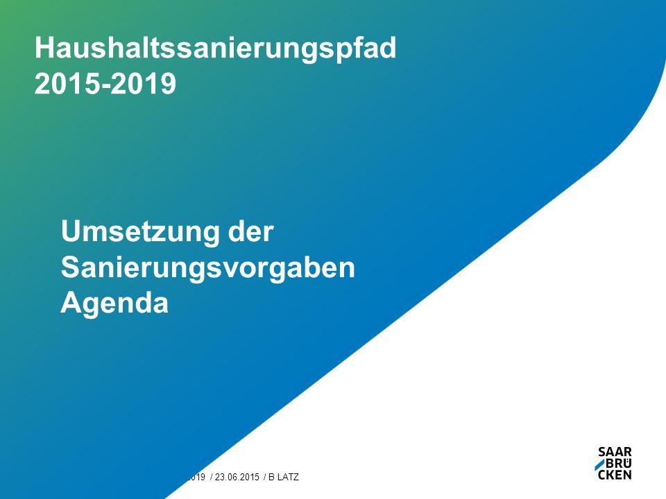 Haushaltssanierungspfad 2015-2019 / 23.06.2015 / B LATZ6 Haushaltssanierungspfad 2015-2019 Umsetzung der Sanierungsvorgaben Agenda