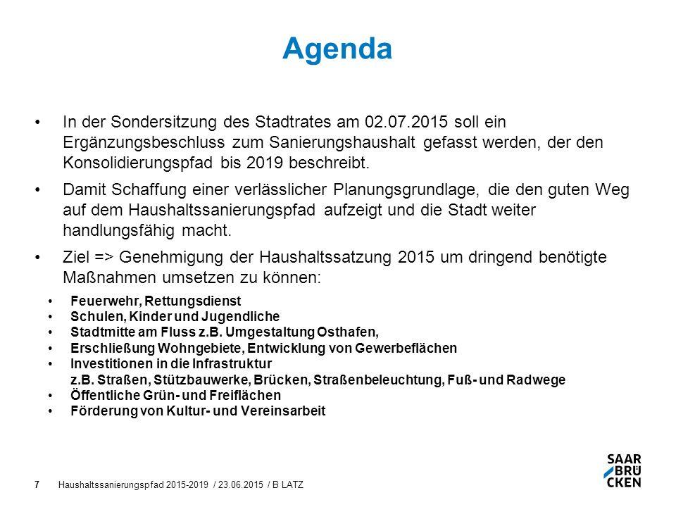 Haushaltssanierungspfad 2015-2019 / 23.06.2015 / B LATZ7 Agenda In der Sondersitzung des Stadtrates am 02.07.2015 soll ein Ergänzungsbeschluss zum Sanierungshaushalt gefasst werden, der den Konsolidierungspfad bis 2019 beschreibt.