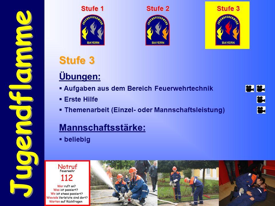 Jugendflamme Stufe 1 Stufe 2 Stufe 3 Übungen:  Aufgaben aus dem Bereich Feuerwehrtechnik  Erste Hilfe  Themenarbeit (Einzel- oder Mannschaftsleistung) Stufe 3 Mannschaftsstärke:  beliebig