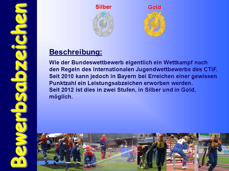 BewerbsabzeichenBewerbsabzeichen Silber Gold Beschreibung: Wie der Bundeswettbewerb eigentlich ein Wettkampf nach den Regeln des Internationalen Jugendwettbewerbs des CTIF.