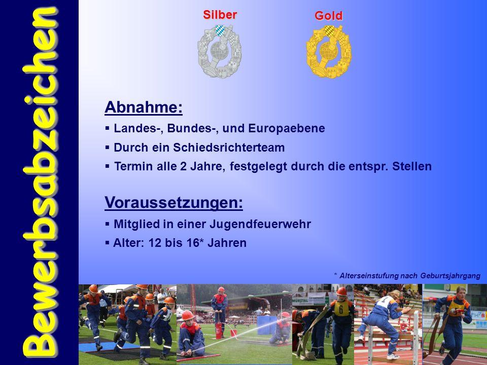 BewerbsabzeichenBewerbsabzeichen Silber Gold Abnahme:  Landes-, Bundes-, und Europaebene  Durch ein Schiedsrichterteam  Termin alle 2 Jahre, festgelegt durch die entspr.