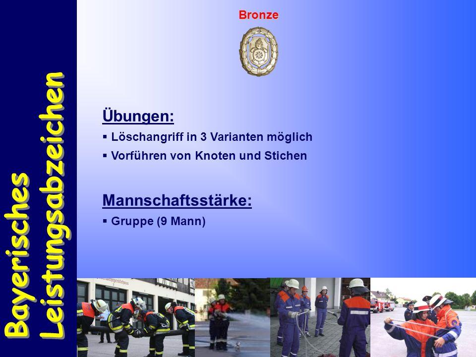 Bayerisches Leistungsabzeichen Bayerisches Leistungsabzeichen Bronze Übungen:  Löschangriff in 3 Varianten möglich  Vorführen von Knoten und Stichen Mannschaftsstärke:  Gruppe (9 Mann)