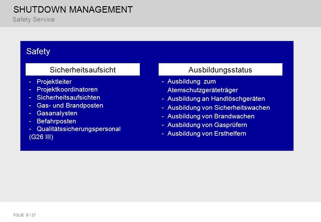 SHUTDOWN MANAGEMENT FOLIE 8 / 27 Safety Sicherheitsaufsicht - Projektleiter - Projektkoordinatoren - Sicherheitsaufsichten - Gas- und Brandposten - Ga