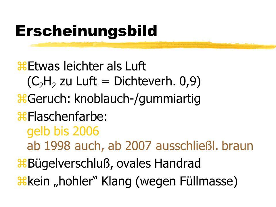 Erscheinungsbild zEtwas leichter als Luft (C 2 H 2 zu Luft = Dichteverh. 0,9) zGeruch: knoblauch-/gummiartig zFlaschenfarbe: gelb bis 2006 ab 1998 auc