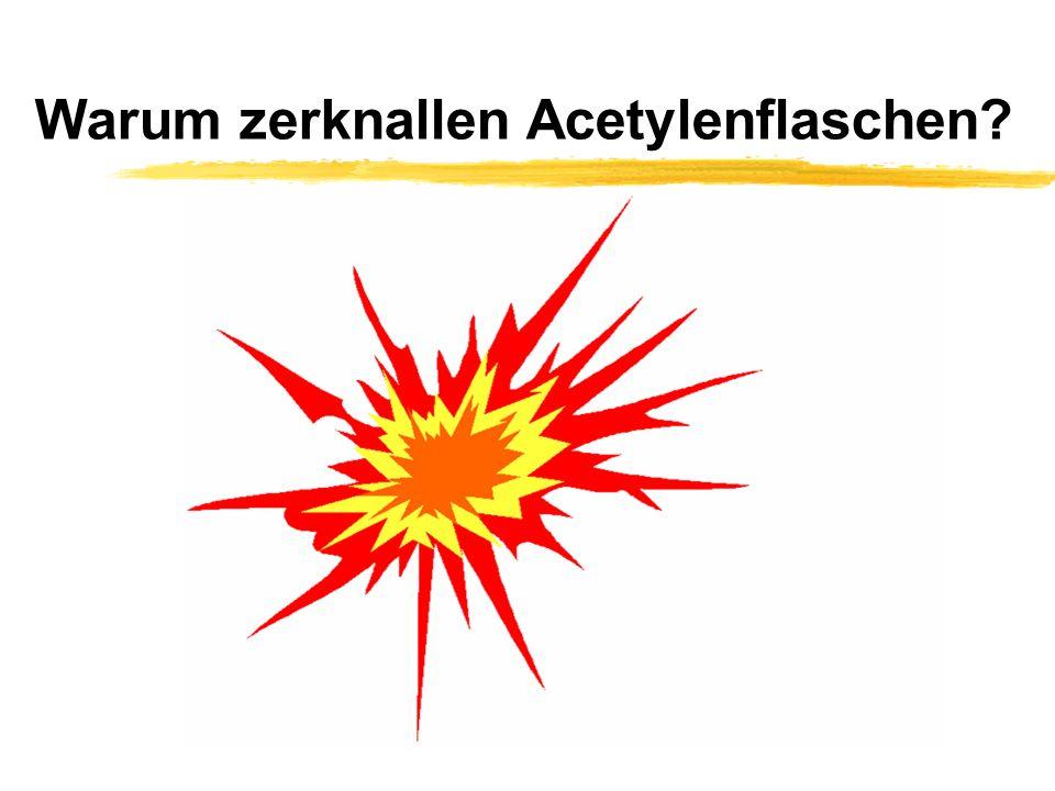 Ursachen für einen Zerknall.zRückzündung über angeschlossene Gasleitungen (Acetylenzersetzung).