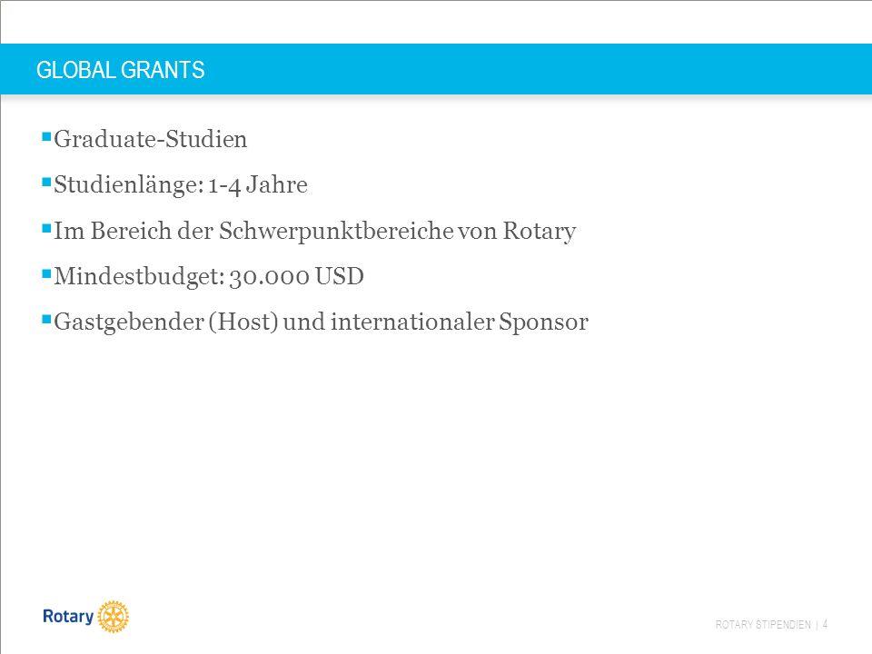 ROTARY STIPENDIEN | 4 GLOBAL GRANTS  Graduate-Studien  Studienlänge: 1-4 Jahre  Im Bereich der Schwerpunktbereiche von Rotary  Mindestbudget: 30.000 USD  Gastgebender (Host) und internationaler Sponsor