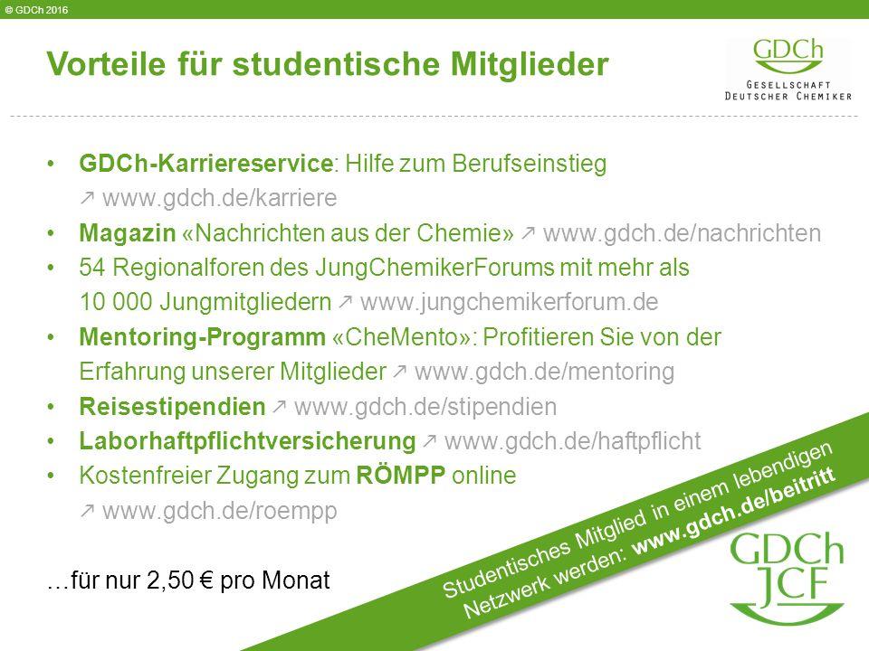 GDCh-Karriereservice: Hilfe zum Berufseinstieg  www.gdch.de/karriere Magazin «Nachrichten aus der Chemie»  www.gdch.de/nachrichten 54 Regionalforen