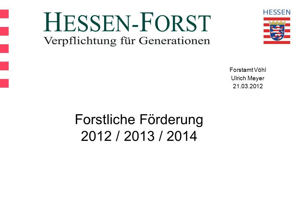 Forstamt Vöhl Ulrich Meyer 21.03.2012 Forstliche Förderung 2012 / 2013 / 2014