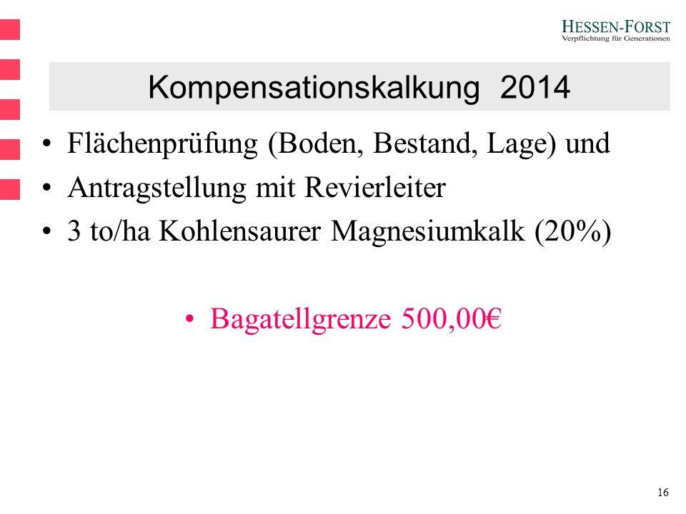 16 Kompensationskalkung 2014 Flächenprüfung (Boden, Bestand, Lage) und Antragstellung mit Revierleiter 3 to/ha Kohlensaurer Magnesiumkalk (20%) Bagatellgrenze 500,00€