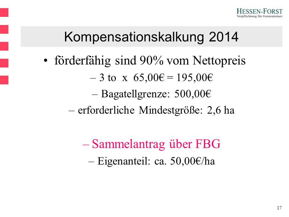 17 Kompensationskalkung 2014 förderfähig sind 90% vom Nettopreis –3 to x 65,00€ = 195,00€ –Bagatellgrenze: 500,00€ –erforderliche Mindestgröße: 2,6 ha –Sammelantrag über FBG –Eigenanteil: ca.