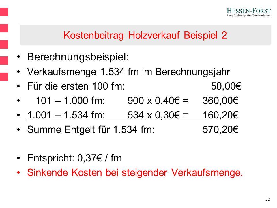 32 Kostenbeitrag Holzverkauf Beispiel 2 Berechnungsbeispiel: Verkaufsmenge 1.534 fm im Berechnungsjahr Für die ersten 100 fm: 50,00€ 101 – 1.000 fm:900 x 0,40€ = 360,00€ 1.001 – 1.534 fm:534 x 0,30€ = 160,20€ Summe Entgelt für 1.534 fm: 570,20€ Entspricht: 0,37€ / fm Sinkende Kosten bei steigender Verkaufsmenge.