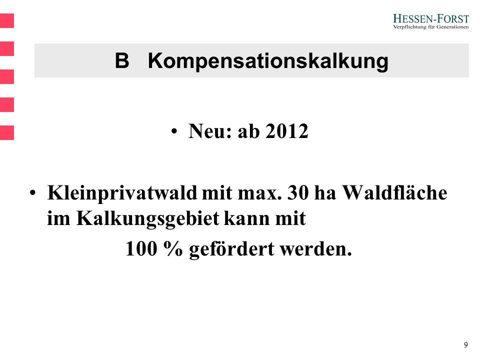 9 B Kompensationskalkung Neu: ab 2012 Kleinprivatwald mit max.