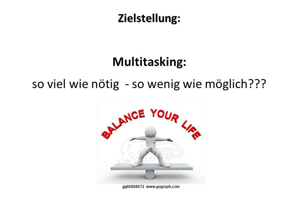 Zielstellung Zielstellung: Multitasking: so viel wie nötig - so wenig wie möglich