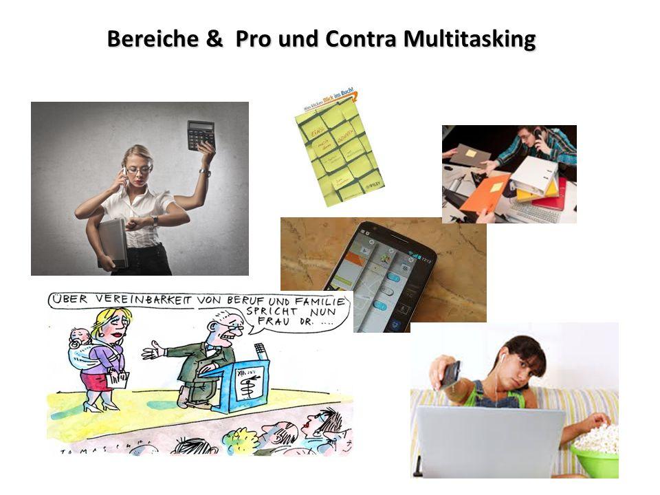 Praxisaufgabe: Multitasking Gruppe 1 Wählen Sie aus den genannten Feldern ein Beispiel aus, anhand dessen Sie gut erarbeiten können, wie man Multitasking minimieren bzw.