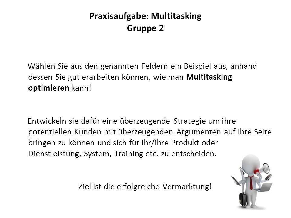 Praxisaufgabe: Multitasking Gruppe 2 Wählen Sie aus den genannten Feldern ein Beispiel aus, anhand dessen Sie gut erarbeiten können, wie man Multitasking optimieren kann.