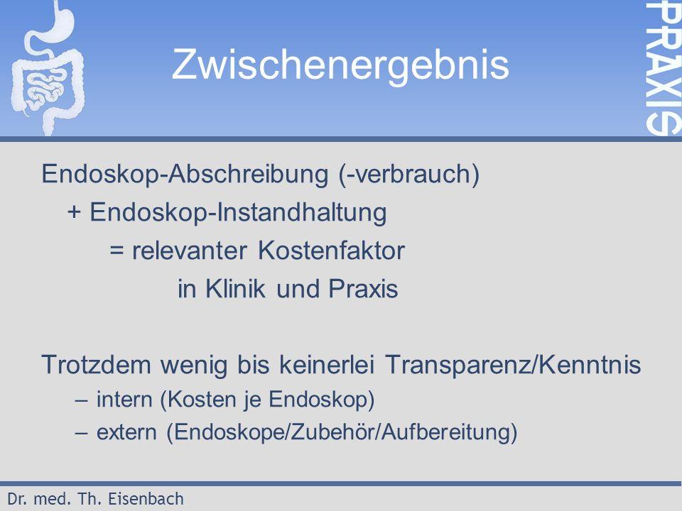 Dr. med. Th. Eisenbach Zwischenergebnis Endoskop-Abschreibung (-verbrauch) + Endoskop-Instandhaltung = relevanter Kostenfaktor in Klinik und Praxis Tr