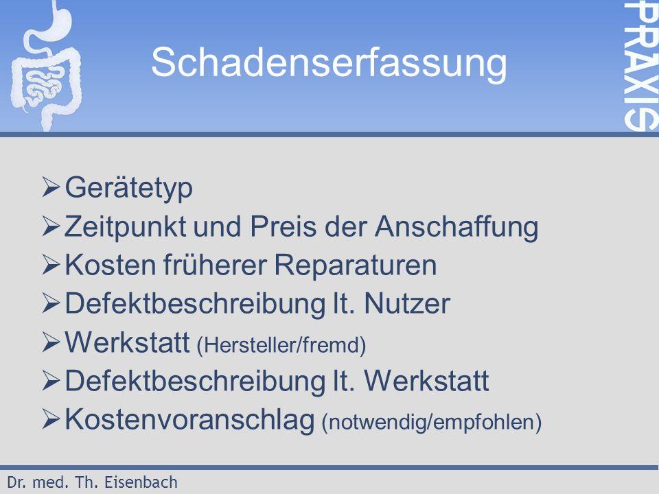 Dr. med. Th. Eisenbach Schadenserfassung  Gerätetyp  Zeitpunkt und Preis der Anschaffung  Kosten früherer Reparaturen  Defektbeschreibung lt. Nutz