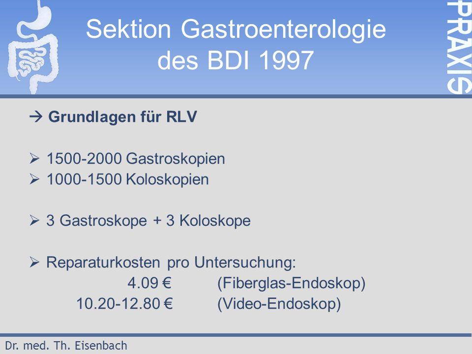 Dr. med. Th. Eisenbach Sektion Gastroenterologie des BDI 1997  Grundlagen für RLV  1500-2000 Gastroskopien  1000-1500 Koloskopien  3 Gastroskope +