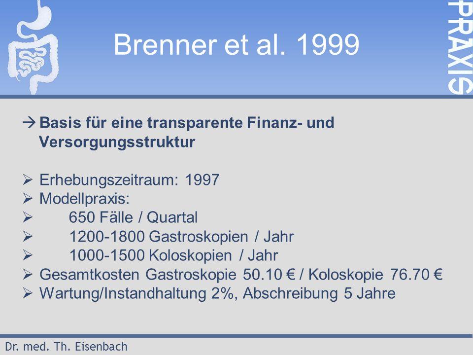 Dr. med. Th. Eisenbach Brenner et al. 1999  Basis für eine transparente Finanz- und Versorgungsstruktur  Erhebungszeitraum: 1997  Modellpraxis:  6