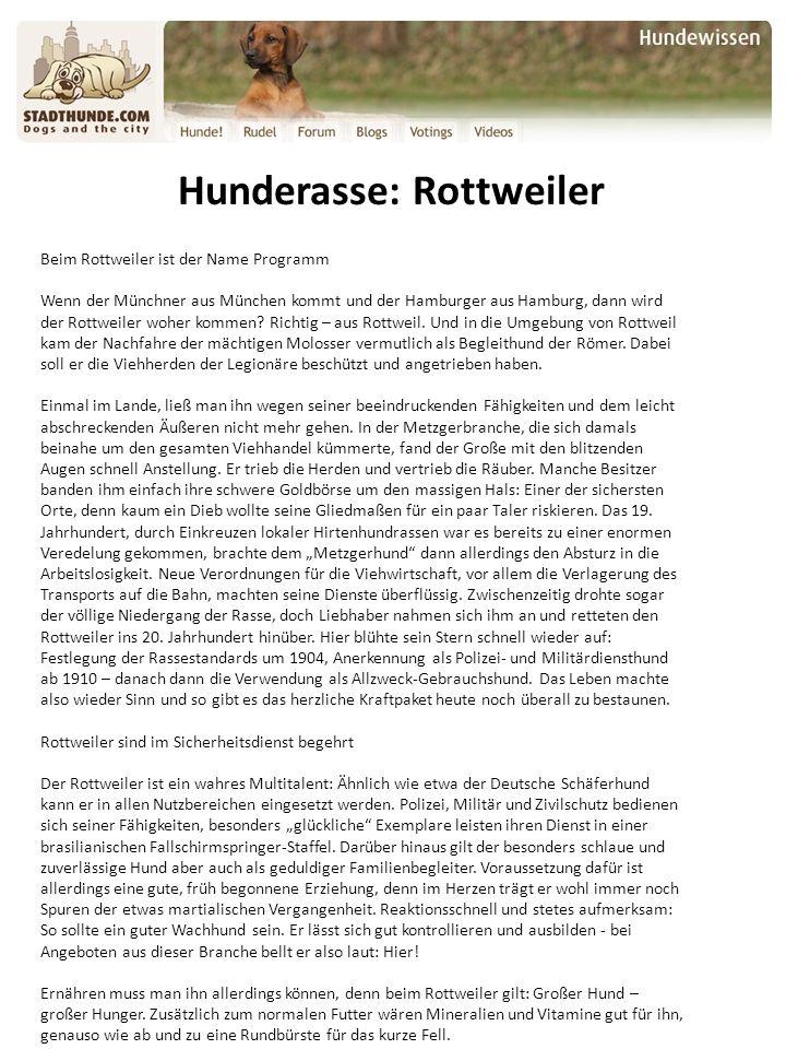 Hunderasse: Rottweiler Beim Rottweiler ist der Name Programm Wenn der Münchner aus München kommt und der Hamburger aus Hamburg, dann wird der Rottweiler woher kommen.