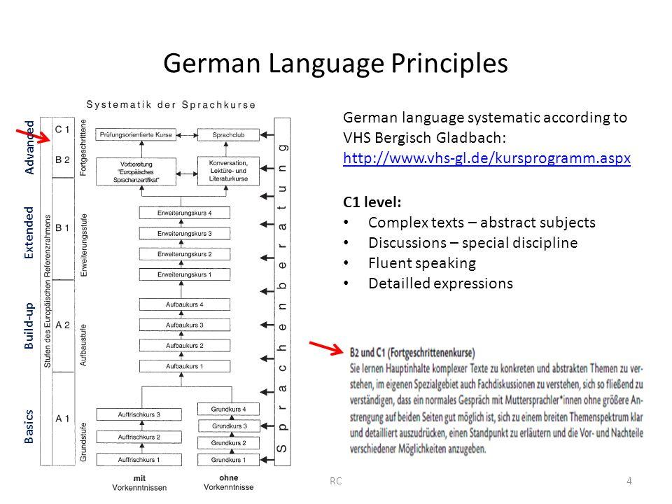 German Language Principles German language systematic according to VHS Bergisch Gladbach: http://www.vhs-gl.de/kursprogramm.aspx C1 level: Complex tex