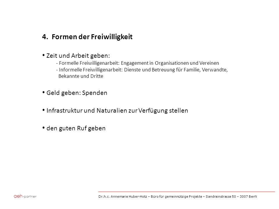 aeh -partner Dr.h.c. Annemarie Huber-Hotz – Büro für gemeinnützige Projekte – Sandrainstrasse 50 – 3007 Ber n 4. Formen der Freiwilligkeit Zeit und Ar