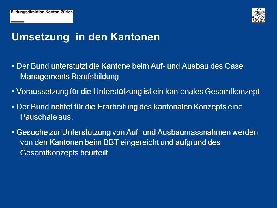 Umsetzung in den Kantonen Der Bund unterstützt die Kantone beim Auf- und Ausbau des Case Managements Berufsbildung.